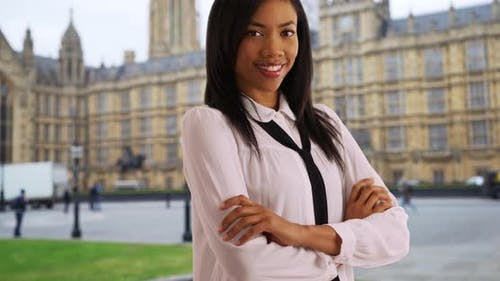 Black female on business trip in London paying a visit to Westminster Palace