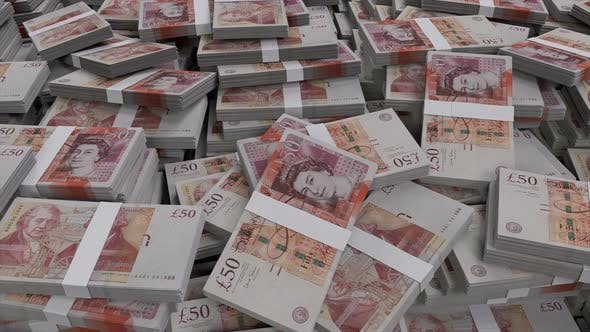 Thumbnail for 50 British Pounds Sterling Banknote Bundles Scattered