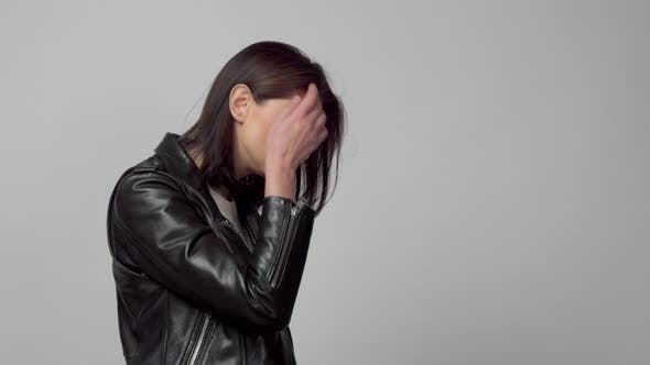 Slow Motion From 60 Fps Woman with Blowing Hair in Studio