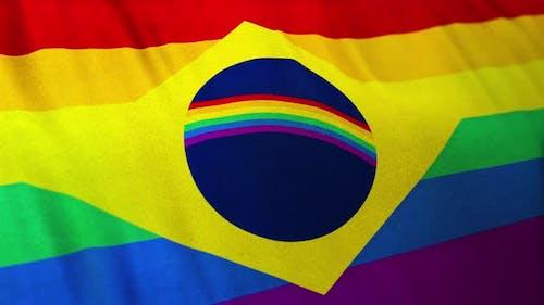 Gay Brazil Pride Flag Loop