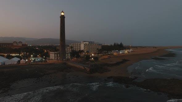 Maspalomas Lighthouse on Gran Canaria, aerial view