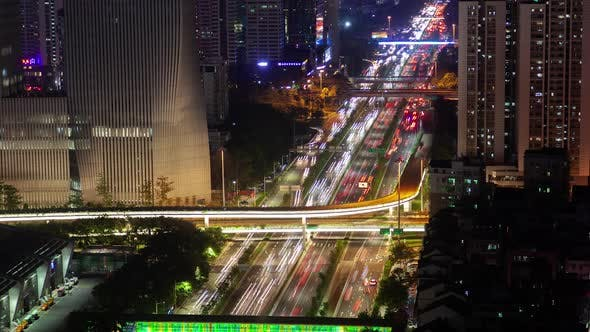 Cover Image for Timelapse Shenzhen Automobiles Drive Along Illuminated Road