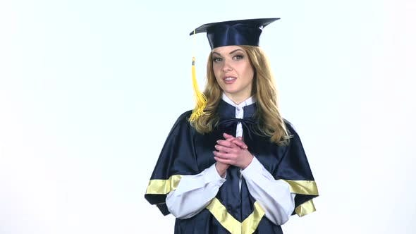 Thumbnail for Student Graduate Isolated Confident Talking Interview. White. Slow Motion