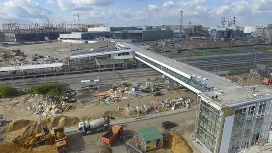 Thumbnail for Construction of New Modern Railway Station in City Outskirts, Aerial View