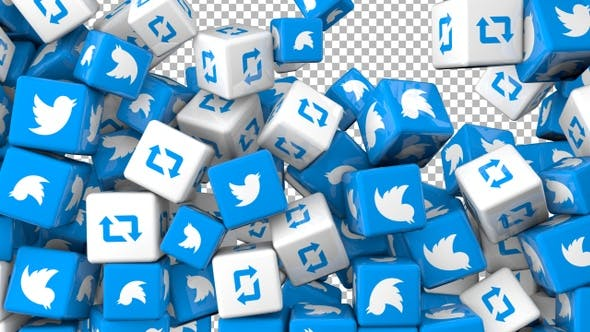 Social Media Icons Transition - Twitter and Retweet