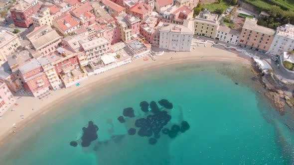 Thumbnail for Aerial Shot. Sestri Levante, a Beautiful Town on the Ligurian Coast in Italy. City Landscape