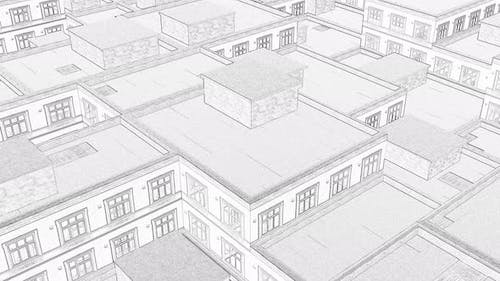 Drawing City Roofs Line Art Modern Continuous