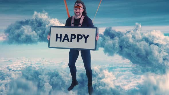 Friendly Parachutist with Happy Placard