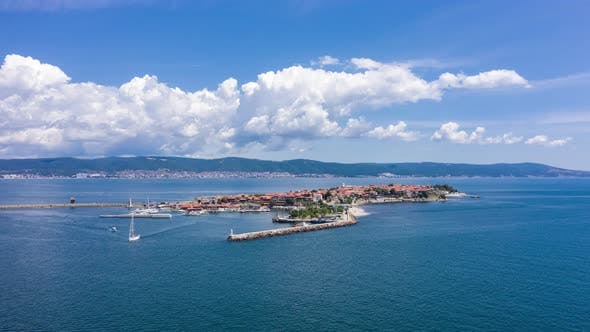 Aerial View of Drone to Nessebar City