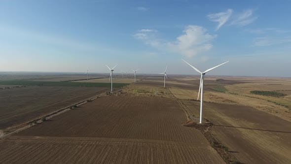 Thumbnail for Rotating Turbines of a Wind Farm. Renewable Energy. Aerial