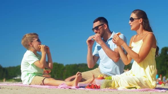 Thumbnail for Happy Family Having Picnic on Summer Beach