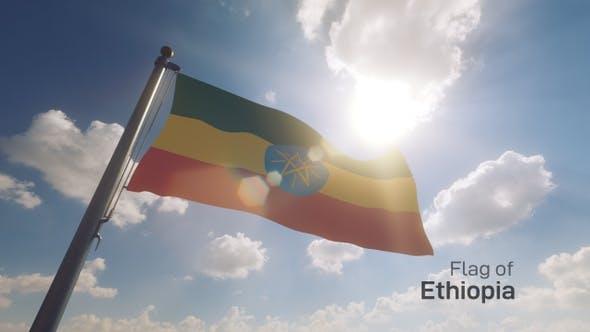 Ethiopia Flag on a Flagpole V2