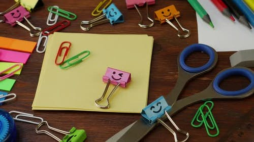 School Stationery on Brown Wooden Table