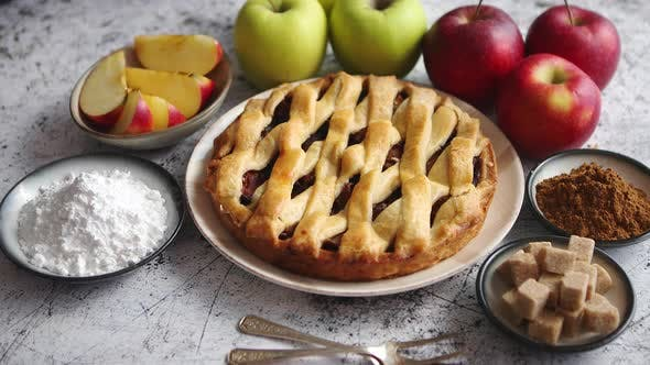 Thumbnail for Fresh Baked Tasty Homemade Apple Pie Cake with Ingredients on Side