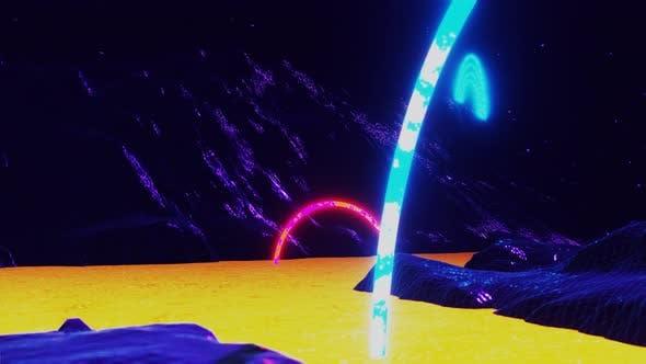Neon Cosmos Galaxy Retro Futurism Planet