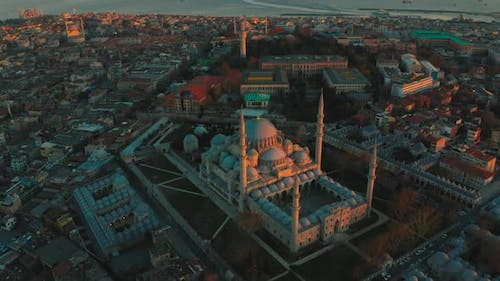 Sunset Over The Blue Mosque  Sultanahmet Camii in Istanbul Turkey