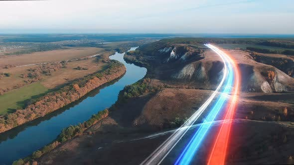 Tricolor Rays Of The Russian Flag Over The Landscape