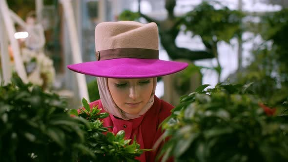 Romantic Woman in Hat Looking Through Green Plant in Orangery
