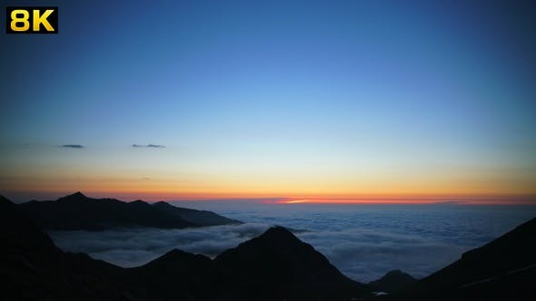 Thumbnail for After Sunset Above the Sea of Cloud in Mountains