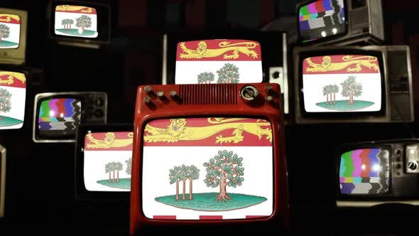 Thumbnail for The flag of Prince Edward Island, Canada, and Retro TVs.