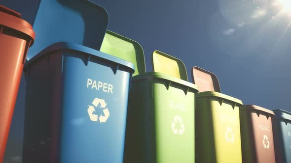 Cover Image for Multi-colored Plastic Waste Bins with Flaps Open and Close and Waste Type Labels
