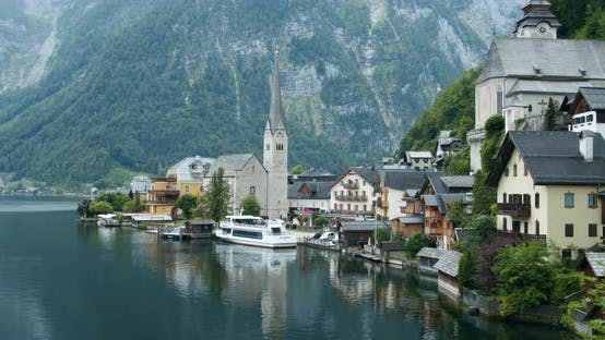 Thumbnail for Cute and Lovely Village Named Hallstatt Located in Austrian Alps. Europe