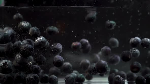 Blueberries Creating Bubbles While Floating in A Fluid