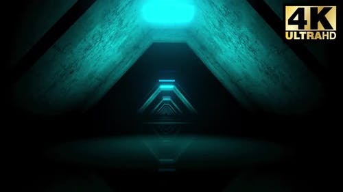 Triangular Blue Corridor 4k