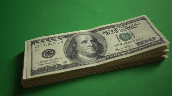Thumbnail for Large Bundle Of 100 Dollar Bills Isolated On Chroma Key Green Screen Background