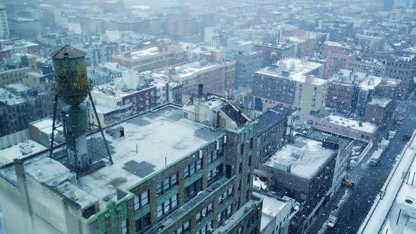 Thumbnail for Snow Falling in the City during Cold Winter Weather Season