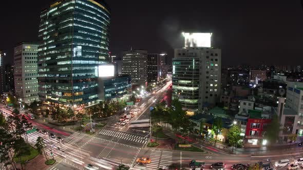 Thumbnail for Timelapse of Traffic on Night Busy Seoul Streets, South Korea