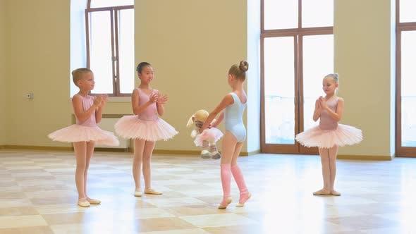 Adorable Class of Young Ballerinas at a Rehearsal