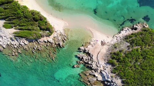 A Drone Flies Over a Tropical Island