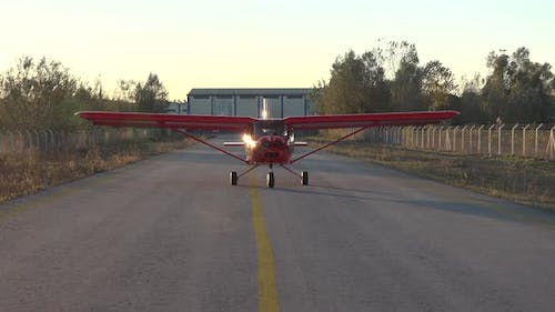 The Plane Leaves The Hangar And Goes To The Runway