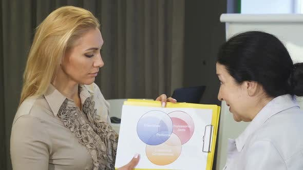 Thumbnail for Two Female Business Colleagues Examining Statistics Discussing Business