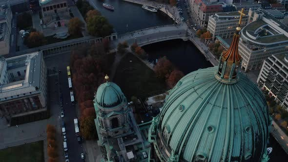 Flight Over Large Green Dome of Berlin Cathedral
