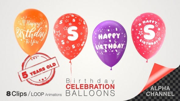 Thumbnail for 5th Birthday Celebration Balloons / Five Years Old