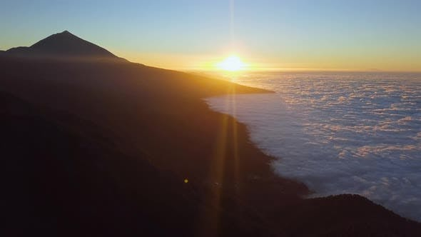 Thumbnail for Aerial of Sunset Cloud Cover Near Teide, Tenerife