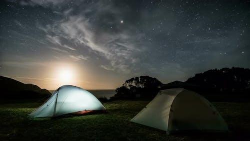 Camping under Stars Sky in Starry Night