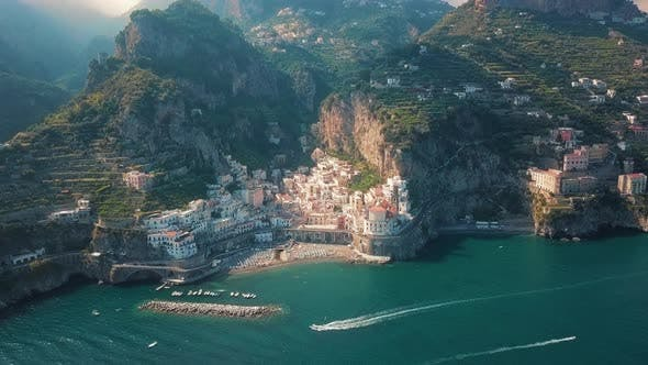 Thumbnail for A Panoramic Shot of the Mountains and the Amalfi Coast, Aerial