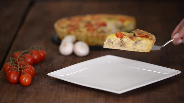 Thumbnail for Chicken Quiche Lorraine with Mushrooms, Tomatoes and Cheese.