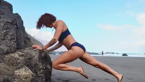 Thumbnail for Push-ups Fitness Woman Doing Pushups Outside on Beach Working Out. Fit Female Sport Model Girl