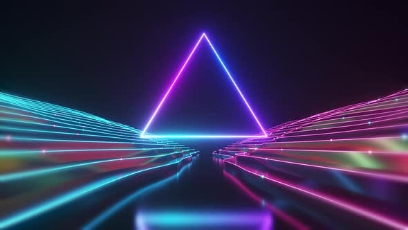 Abstract Neon Triangle Tunnel Technological