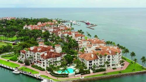 Aerial Parallax Footage Miami Beach Fisher Island Luxury Real Estate