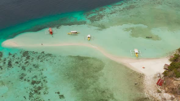 Thumbnail for Small Torpic Island with a White Sandy Beach, Top View