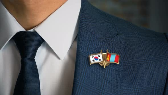 Businessman Friend Flags Pin South Korea Mongolia