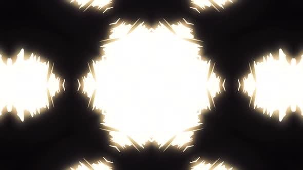 Kaleidoscope with winter snowflakes on black background
