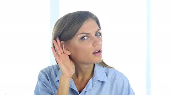 Thumbnail for Woman Listening Information with Care in Office