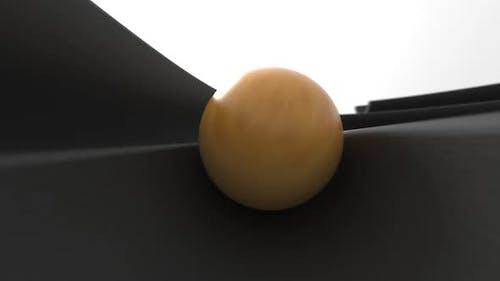 Camera Follows Ball Rolling in Swirl Groove