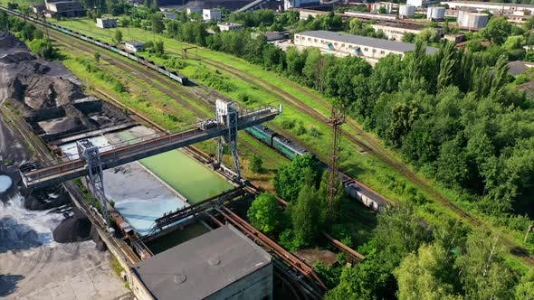 Aerial View Container Freight Train. Freight train passing to distance at line railway